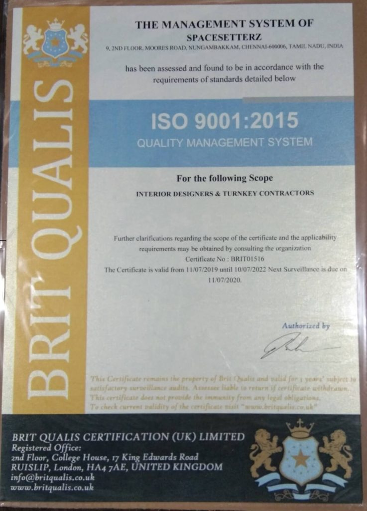 Spacesetterz ISO 9001 2015 Certified